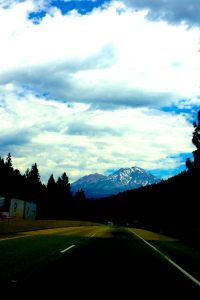 On the road again. Mt. Shasta in the background.